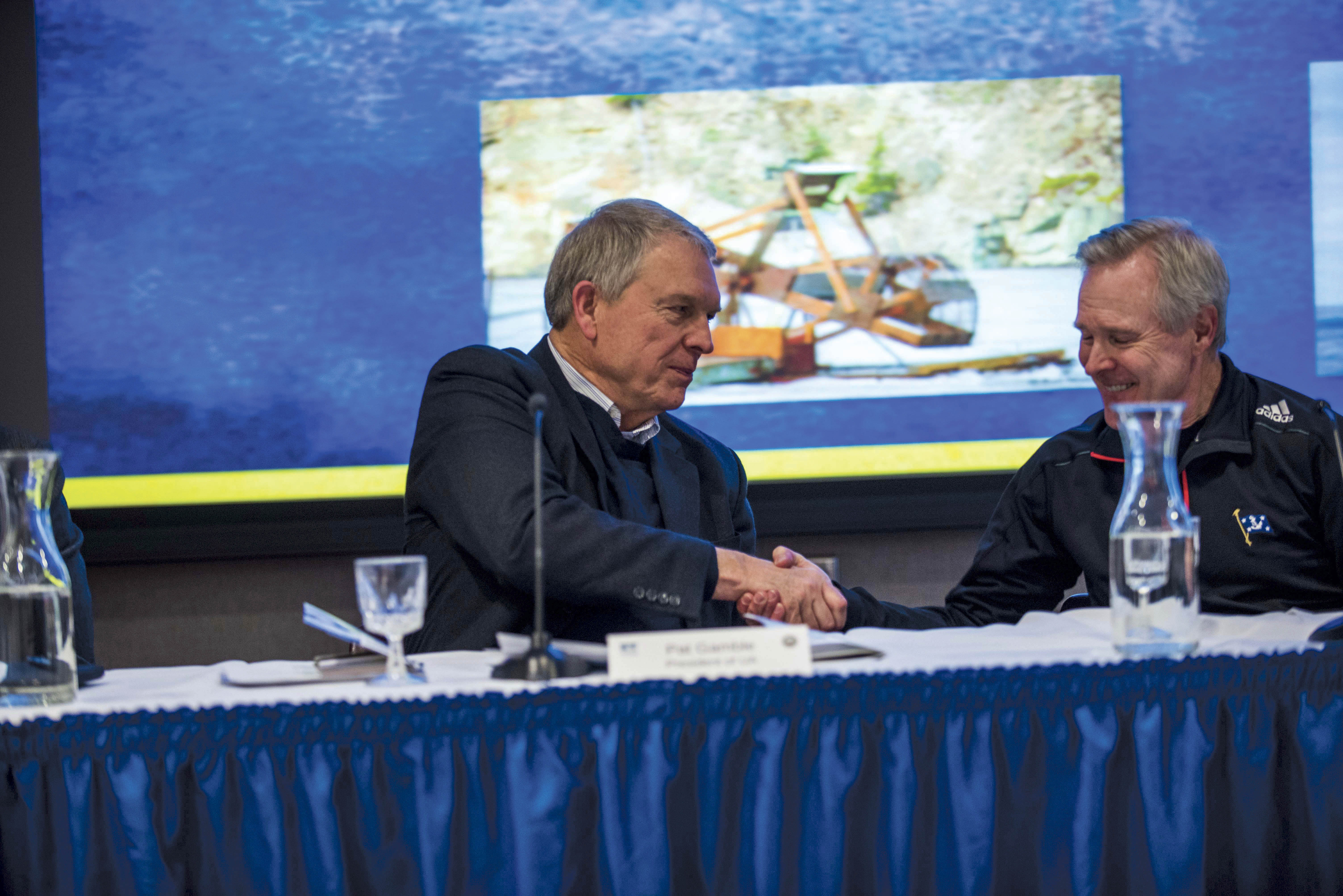 With its prominence in the Arctic, Alaska has been the location of several high profile meetings on climate change in the last year. Pictured above is UA president Pat Gamble shaking hands with U.S. Secretary of the Navy Ray Mabus, following a discussion on meeting the challenges of the changing Arctic. - Zayn Roohi / Photo Editor